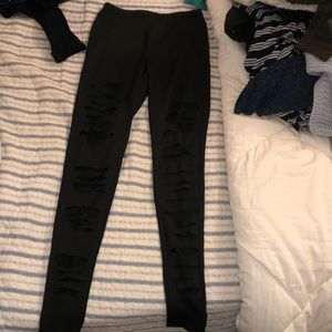 Shein ripped black leggings